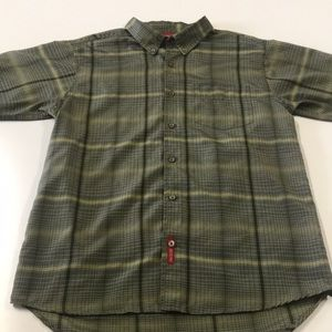 MOSSIMO Youth XL Green Plaid Short Sleeve Shirt
